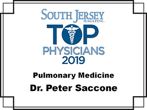 Dr. Peter J. Saccone - DO. Voted South Jersey magazine Top Doc 2019 for pulmonary medicine